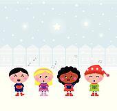 Cute Christmas Carroling Children singing in Town