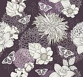 Seamless flower butterfly pattern