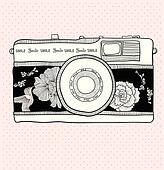 Retro camera with flowers and birds