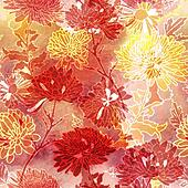 Floral Seamless  Background With Chrysanthemum.
