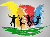 Colorful Jumping Indicates Friends Happiness And Positive