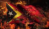 Timor Leste Burning Fire Flag War Conflict Night 3D