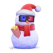 3d Santa snowman at the movies