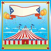 red and blue circus big top