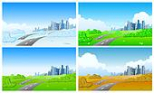 City in four seasons
