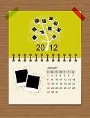 Vector calendar 2012, january.