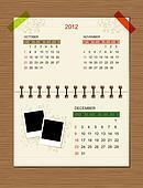 Vector calendar 2012, december.