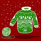 Green knitted christmas sweater