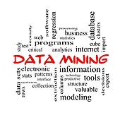 Data Mining Word Cloud Concept in red caps