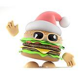 3d Santa burger