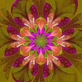 Symmetrical pattern in stained-glass window style. Purple and gr