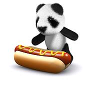 3d Baby panda bear loves hotdogs