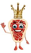 Meat steak character  with crown