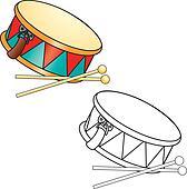 Coloring book. Drum and drumsticks