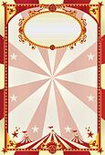 red and cream poster with big top