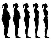 Obese to Skinny Female Silhouette Side View