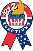 American election ballot box map of USA ribbon 2012