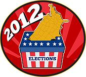 American election ballot box map of USA 2012