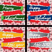 4 Christmas and New Year cards