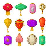 Chinese paper lanterns icons set, cartoon style