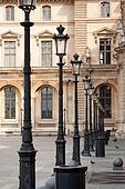 Ancient lanterns in Louvre court yard