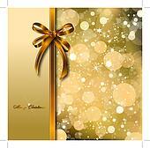Gold bow on a magical Christmas card. Vector