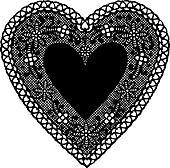 Antique Black Lace Doily Heart