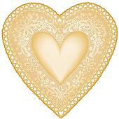 Antique Gold Lace Doily Heart