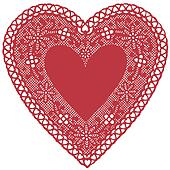 Antique Red Lace Doily Heart