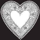 Antique White Lace Doily Heart