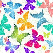 Colorful butterflies. Seamless pattern