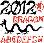 dragon and asian vector alphabet