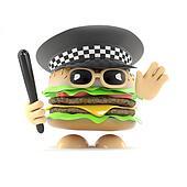 3d Police burger