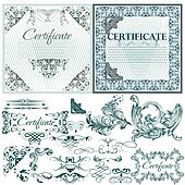Certificate vector set in blue color