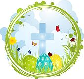 Easter border with Cross and eggs