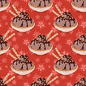Seamless, Ice Cream and Floral Pattern