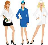 Stewardess, nurse and waitress