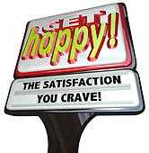 Get Happy Fast Food Sign Instant Happiness