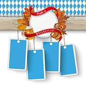 Oktoberfest Wooden Banner Foliage 4 Price Stickers