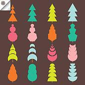 Colorful set of spruce tree vector
