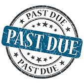 Past due blue round grungy stamp isolated on white background