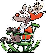 Reindeer sitting in rocking chair