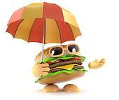3d Burger under an umbrella
