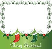 Postcard with gift socks and snow