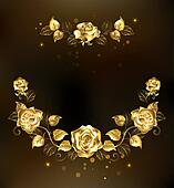 Symmetrical garland of gold roses