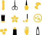 Manicure, cosmetics and beauty icons isolate on white ( orange,