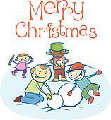 kids making a snow man on Xmas