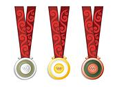 Medals with ribbons