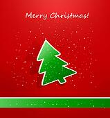 Christmas card with green paper tre