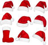 Big set of red santa hats and boot